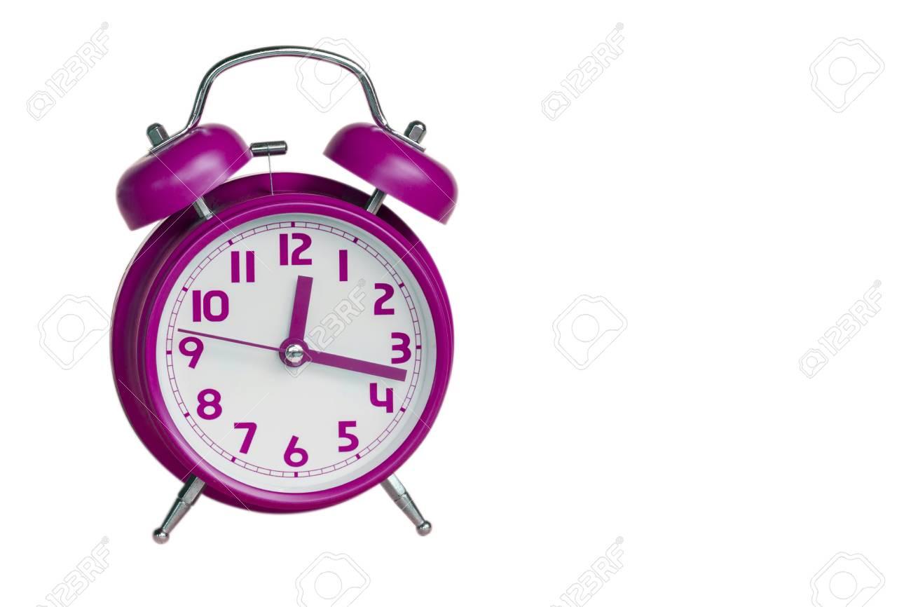 bb280b0852da64 pink retro alarm clock on white background Stock Photo - 57619764