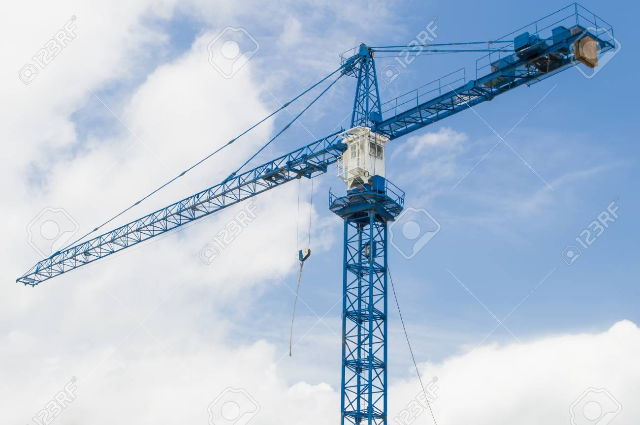 Construction crane with blue sky and cloud Stock Photo - 22027402