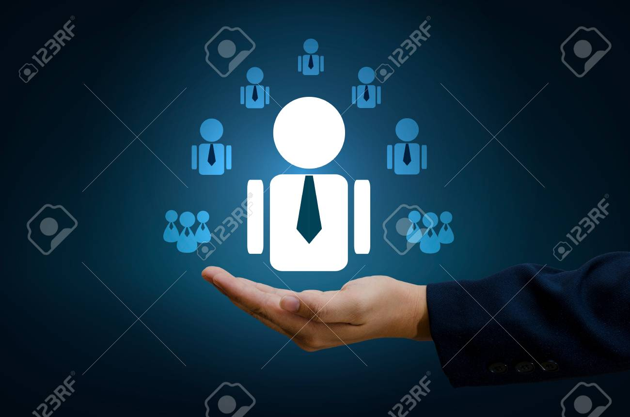Hand Businessman Human Resource Management And Recruitment Business Human  Resources CRM Officer Looking For Employee Represented