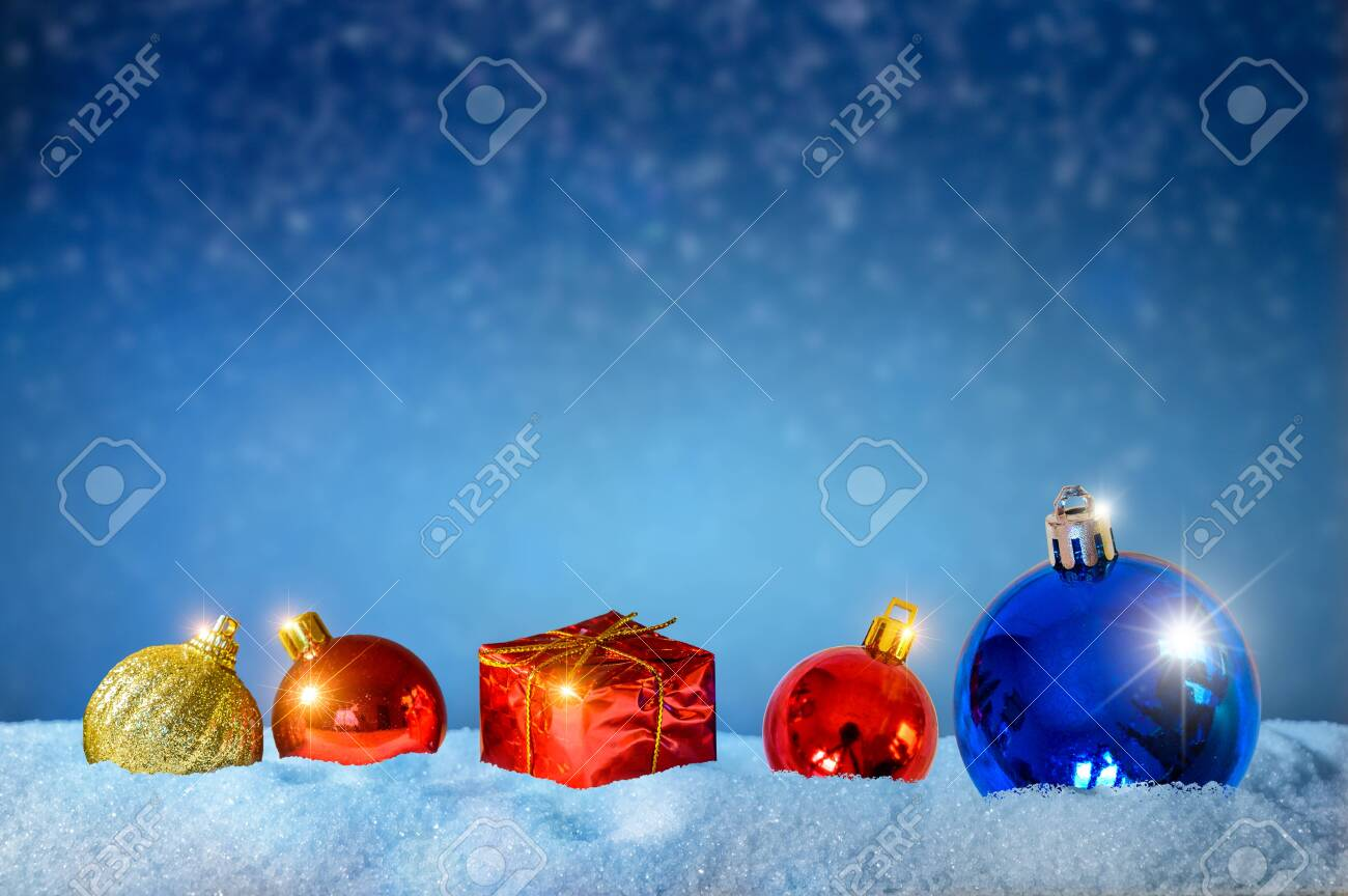 Merry christmas and happy new year greeting background. Christmas Lantern On Snow With Fir - 134348080