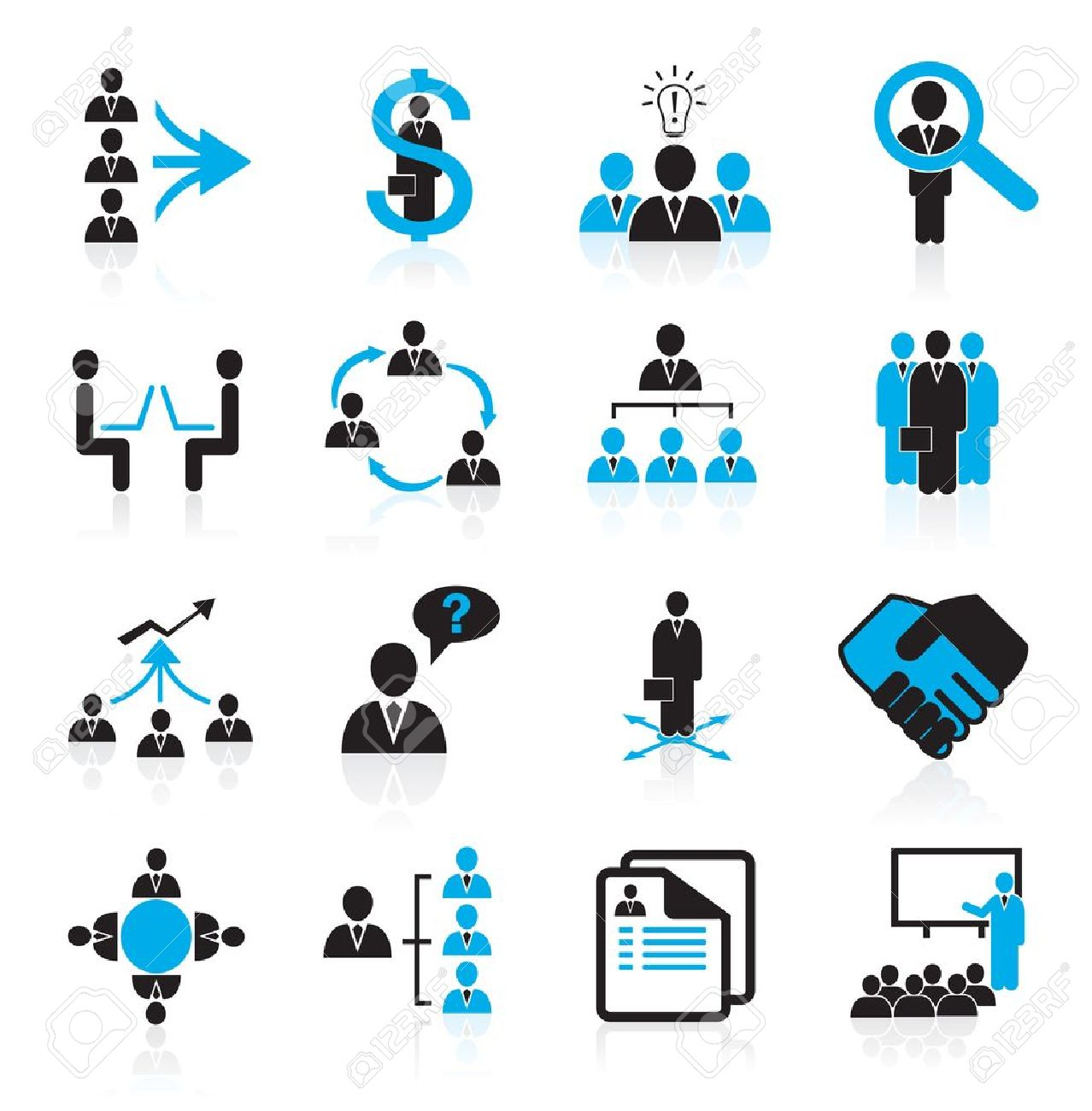Set of 16 management,business and human resources icons - 15359817