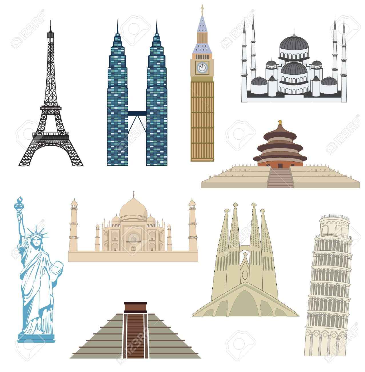 Set Of Travel Icons Most Popular Destinations Stock Vector