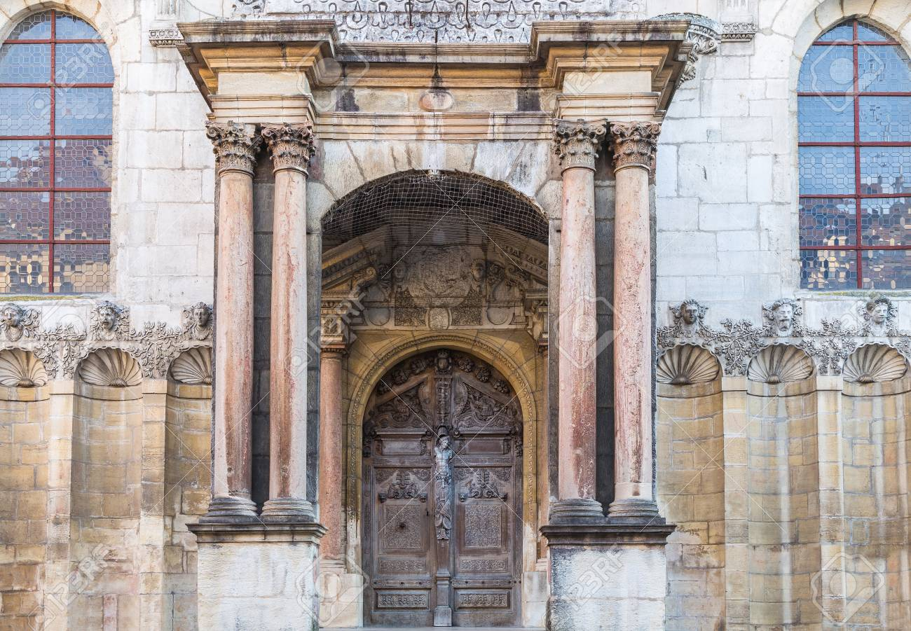 Entrance To Cathedral Old Wooden Door And Beautiful Windows Stock