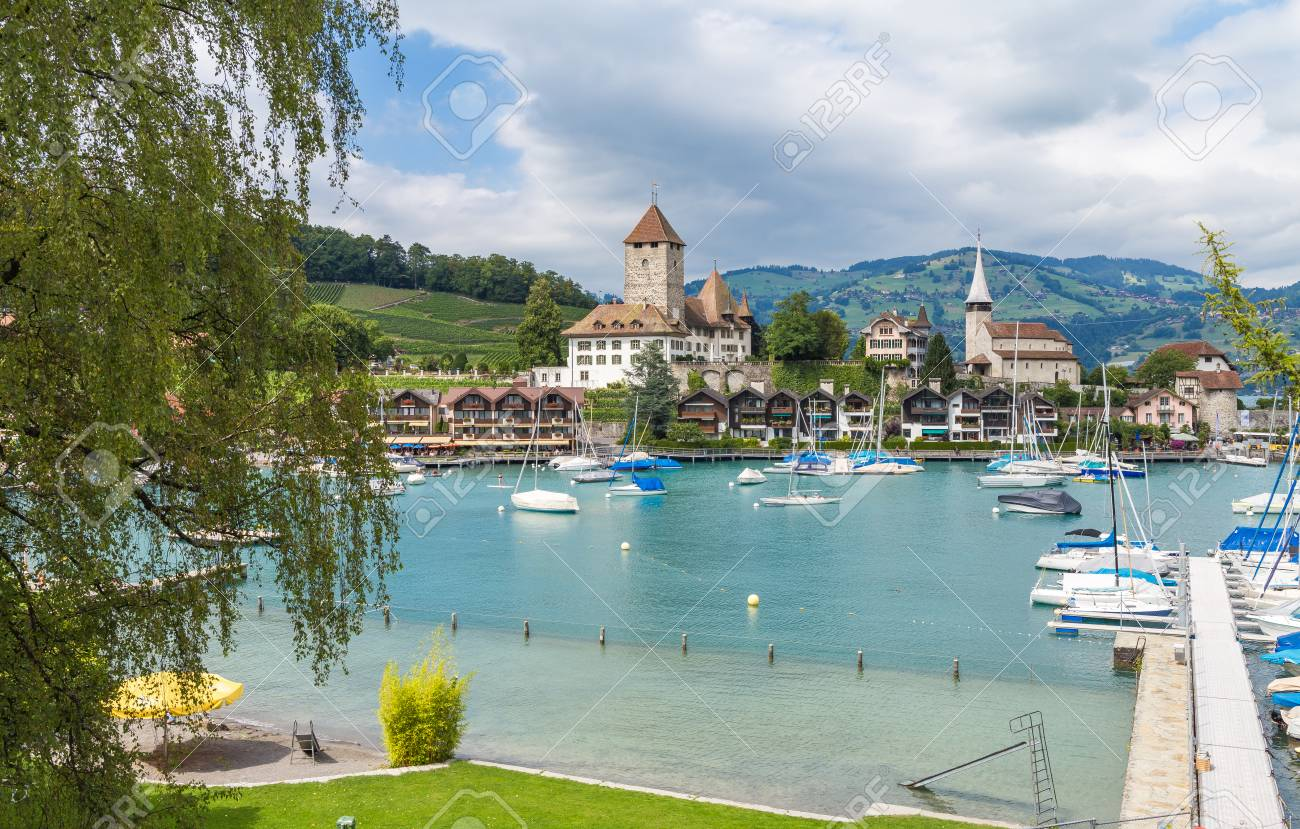 View On Beautiful Small City Lake Thun Marine And Many Boats