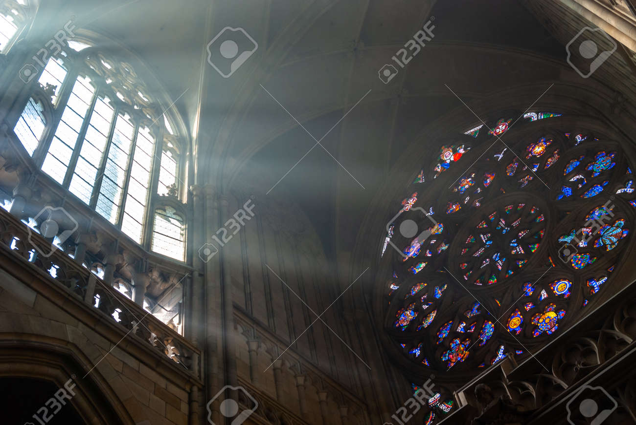 St Vitus Cathedral majestic morning misty interior. Angle, architecture. Prague Czech - 140652125