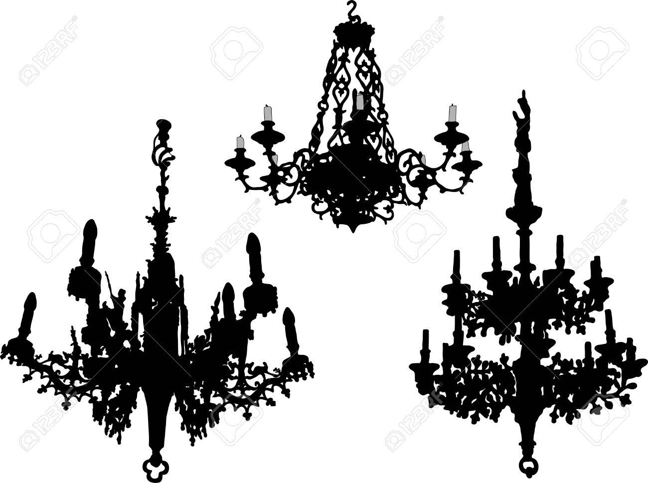 Three Old Chandeliers Vector Illustration Royalty Free Cliparts – Old Chandeliers