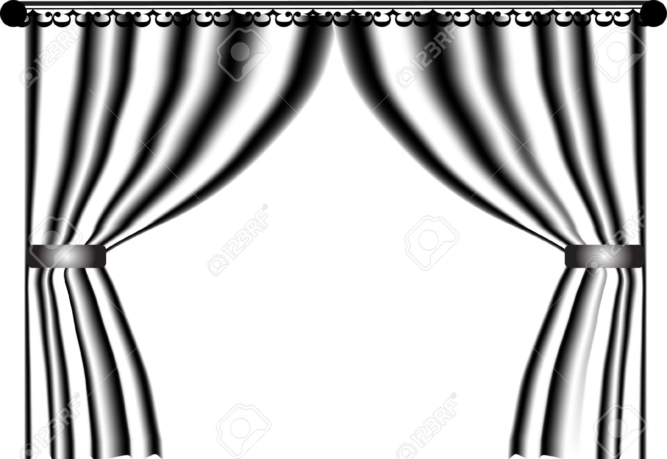Black and white stage curtain - Black And White Curtain Vector Stock Vector 2702939