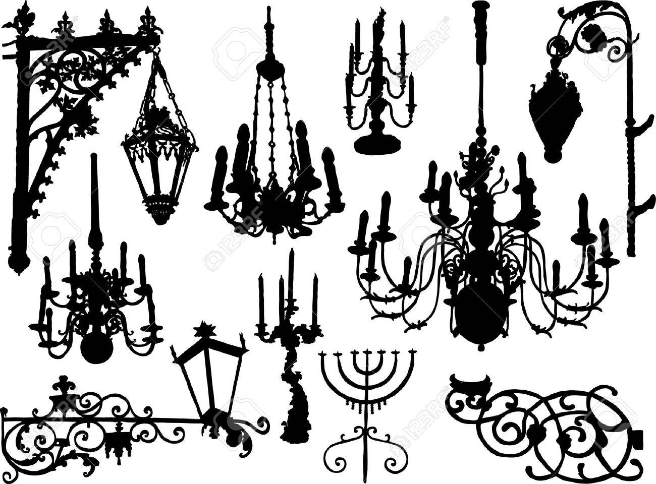 Vector baroque chandeliers and lamps - 3283659
