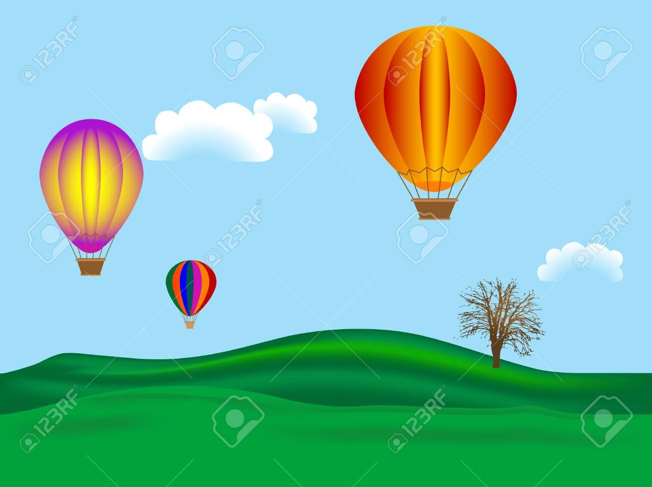 Hot air balloons - vector illustration Stock Vector - 3326734