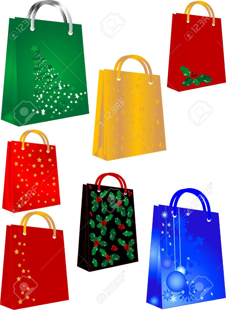 Shopping bags with christmas symbols Stock Vector - 3394335