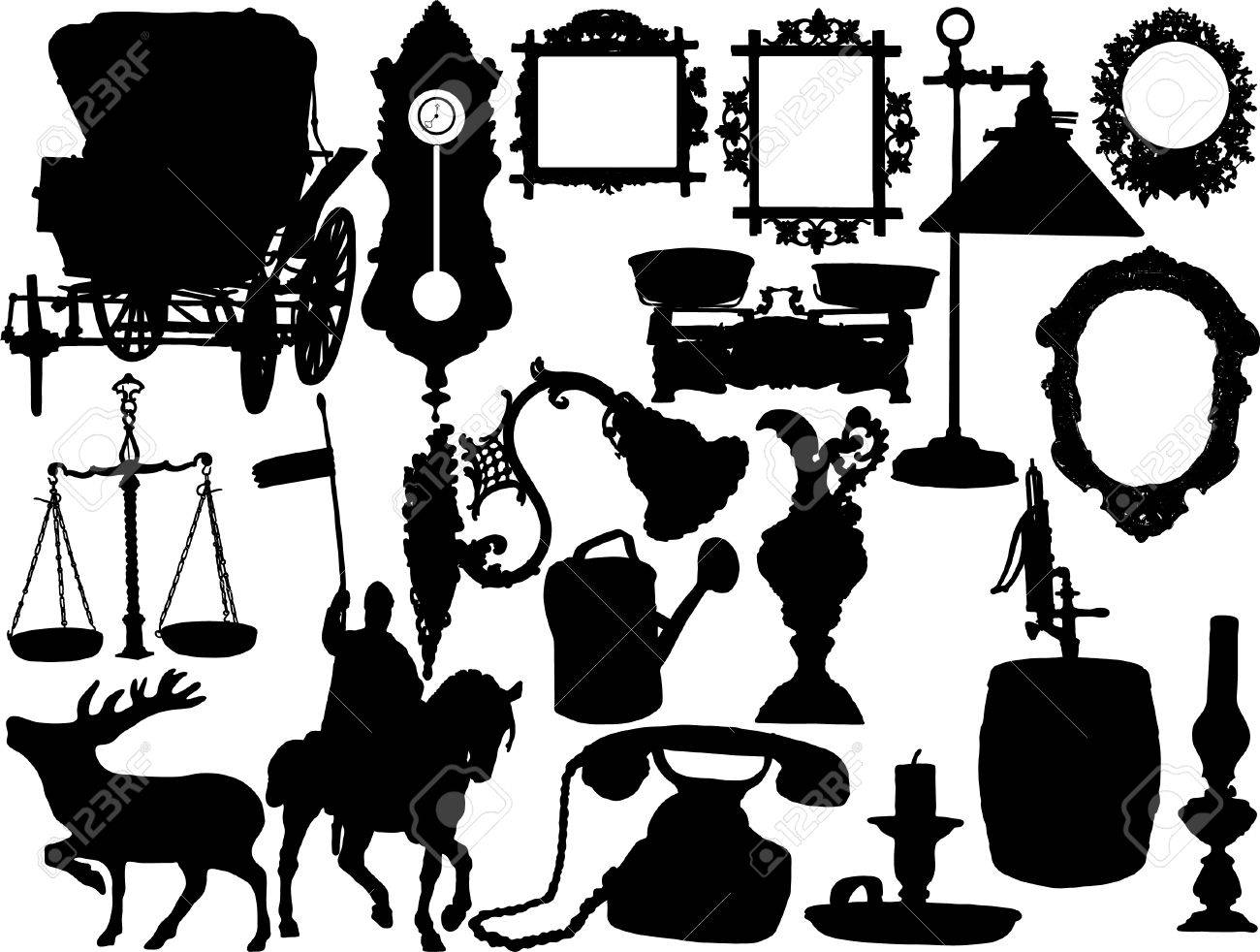 Vector silhouettes of the retro objects Stock Vector - 3780196