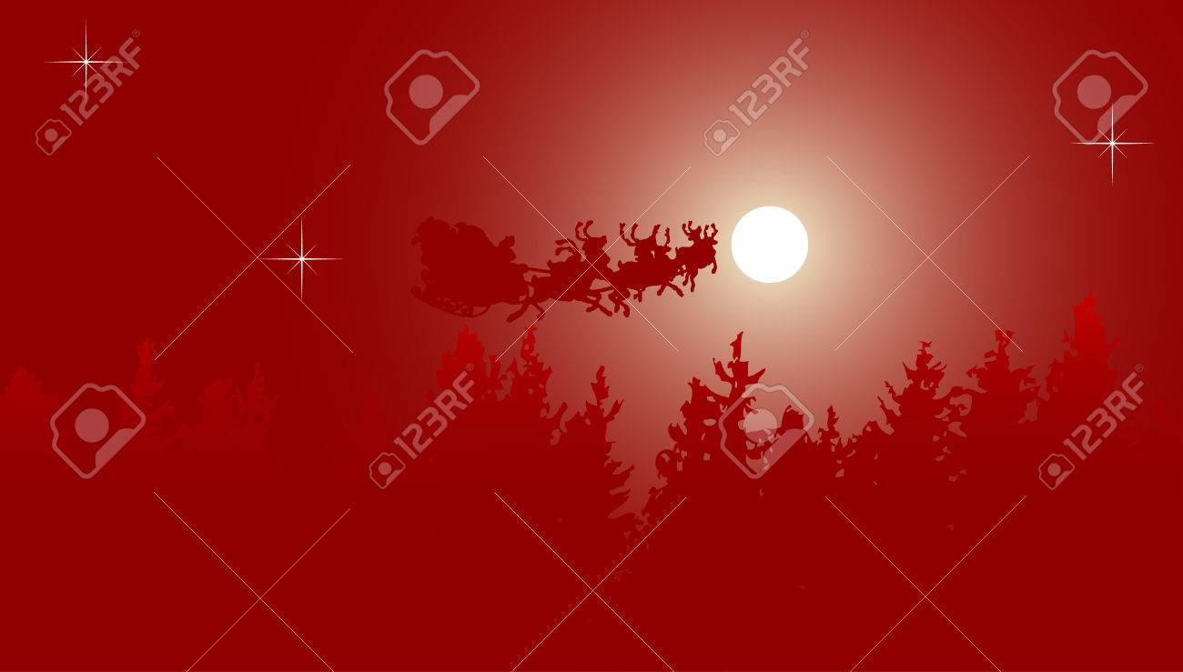 Santa with his sledge in the christmas night Stock Vector - 3853207