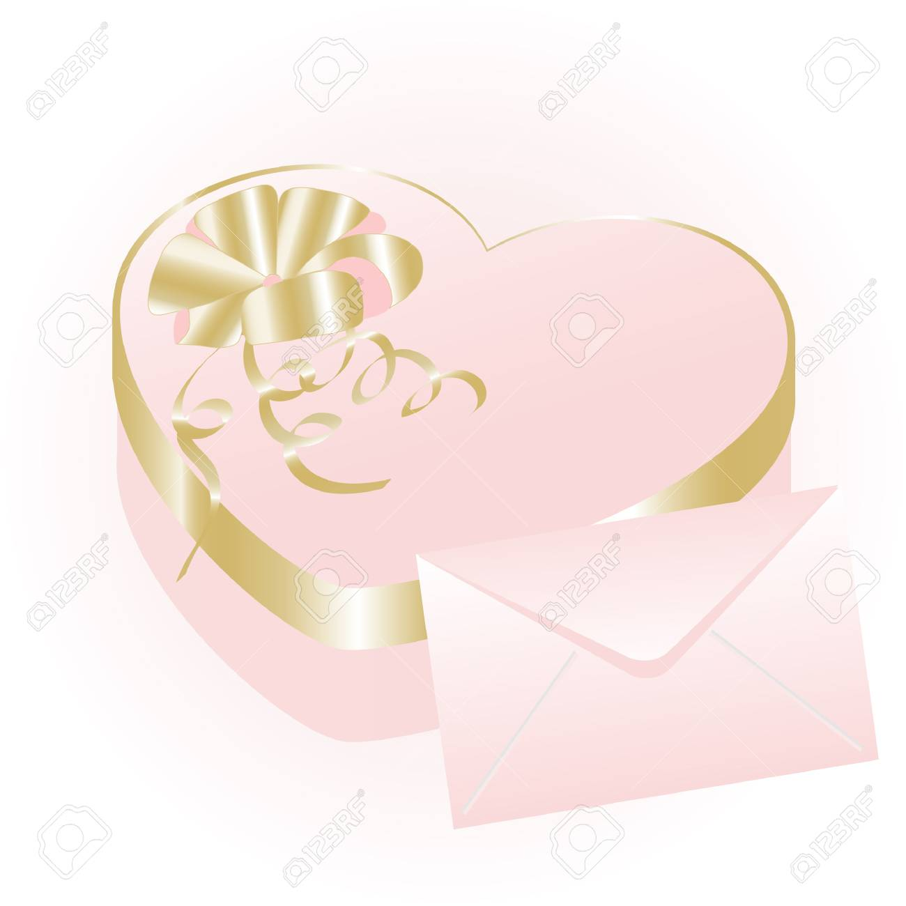 Rose heart gift box with envelope Stock Vector - 3941040