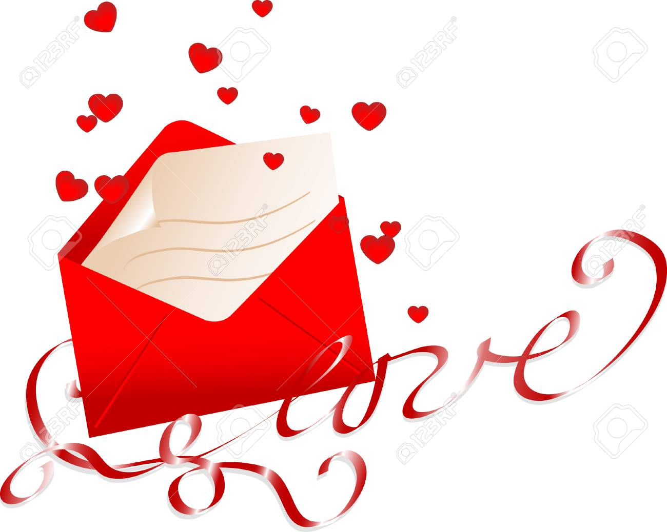 Love letter with bow and hearts Stock Vector - 4282858