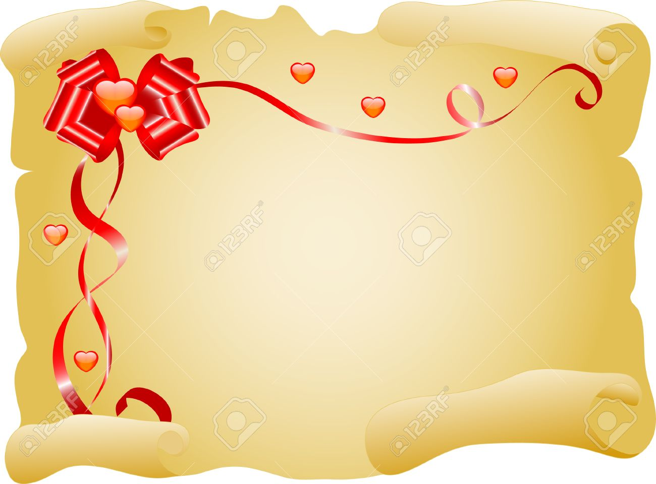 Love letter with bow and hearts Stock Vector - 4282863