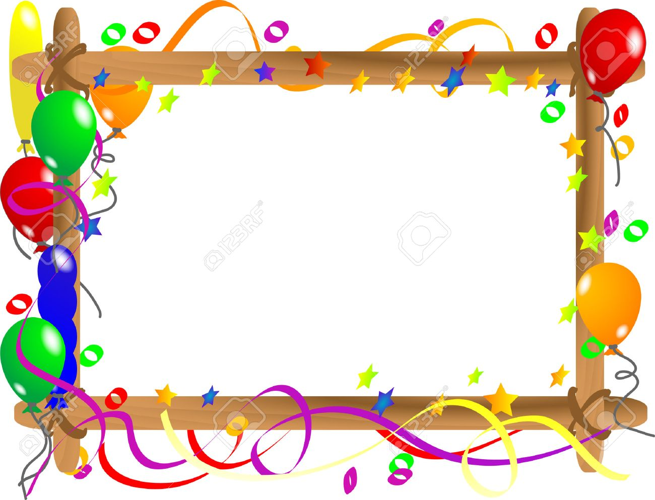 vector wooden frame with colorful balloons