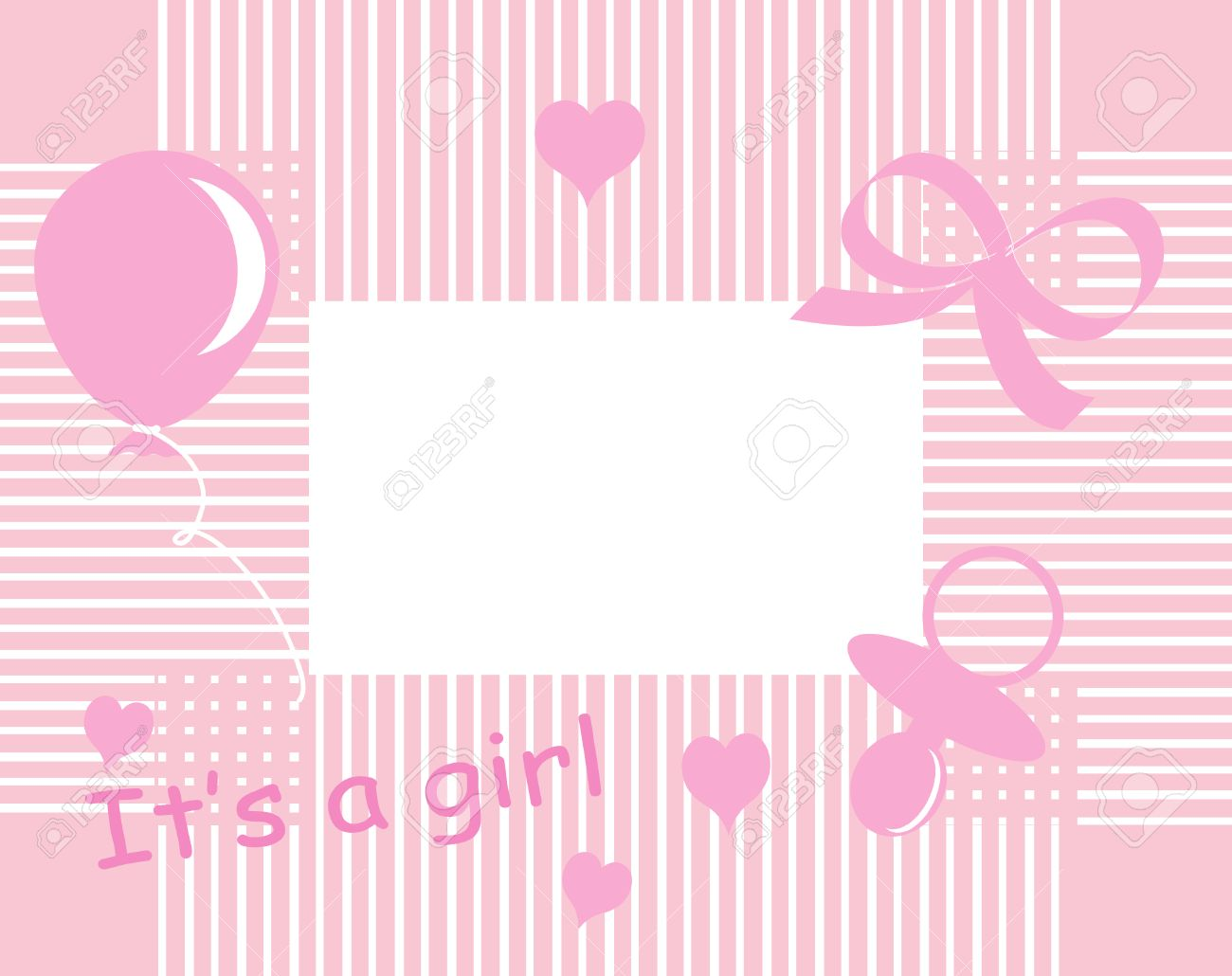 Baby Girl Arrival Announcement Card Royalty Free Cliparts Vectors – Announcement of Baby Girl