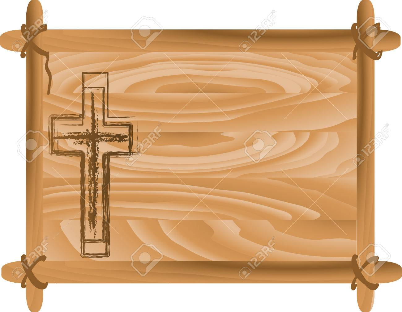 vector wooden frame with cross vector illustration
