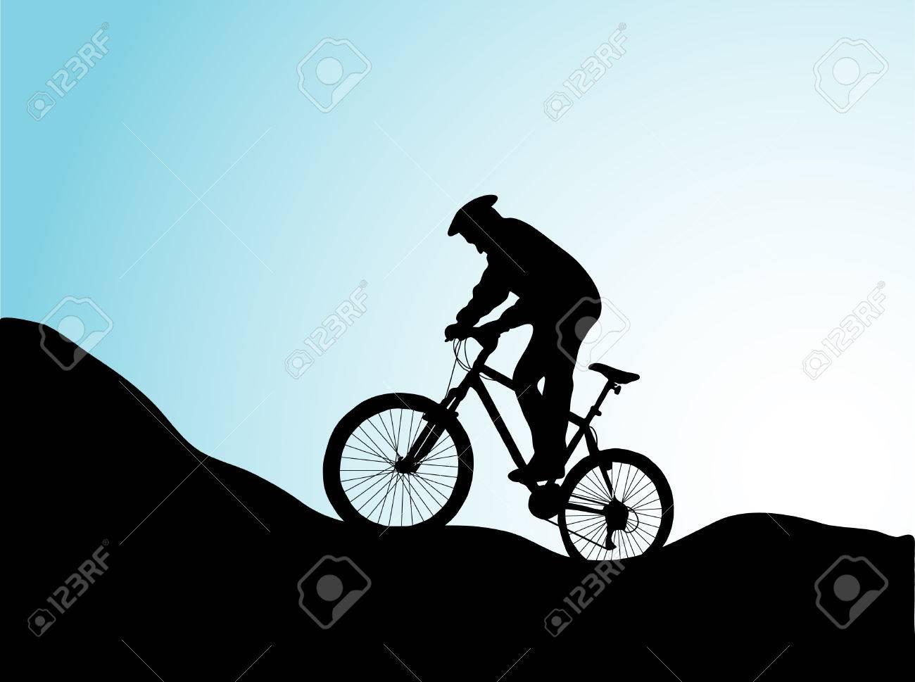 Mountain bike in sunrise - vector Stock Vector - 5617573