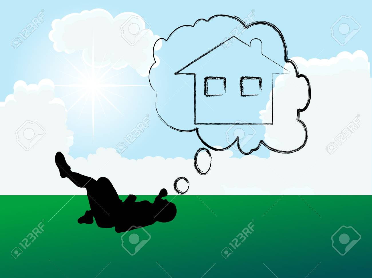 Home on the meadow - vector illustration Stock Vector - 5617603