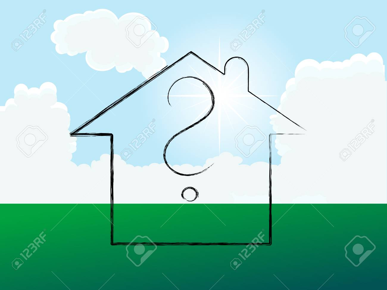 Home on the meadow - vector illustration Stock Vector - 5617581