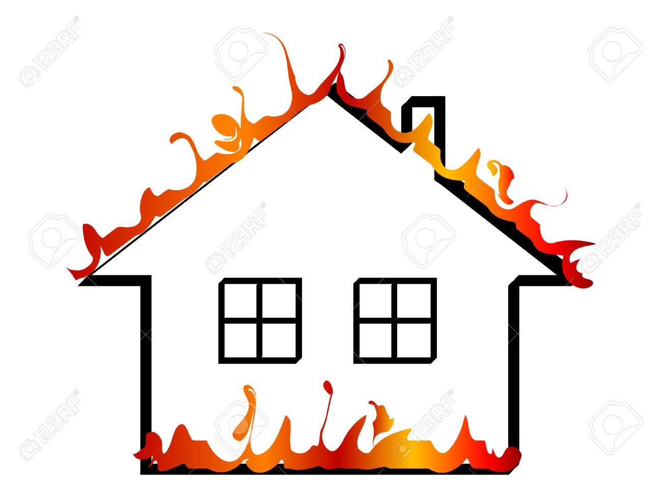 Burning Home Icon - Vector Illustration Royalty Free Cliparts ...