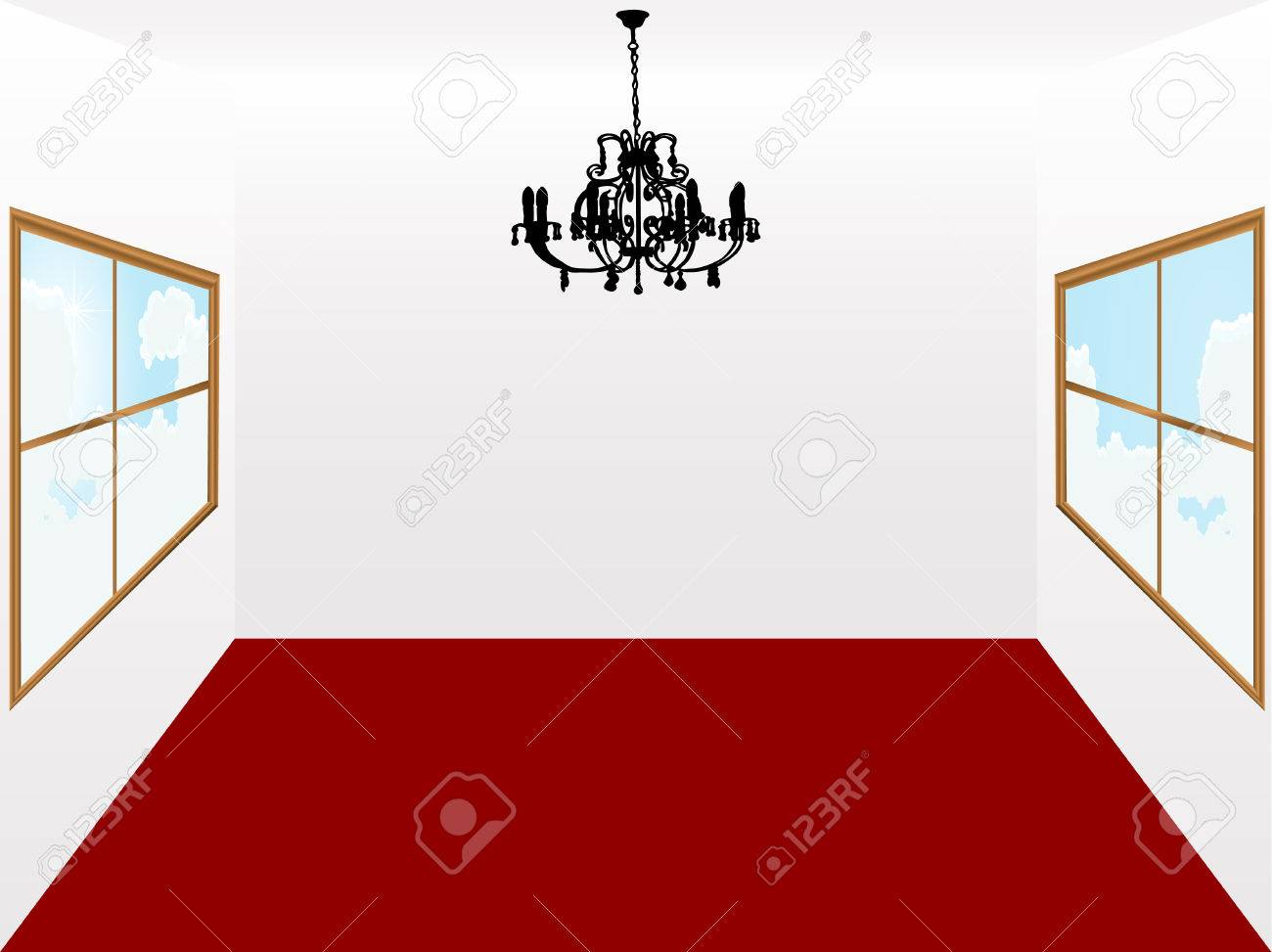 Chandelier and room with red carpet Stock Vector - 5655738