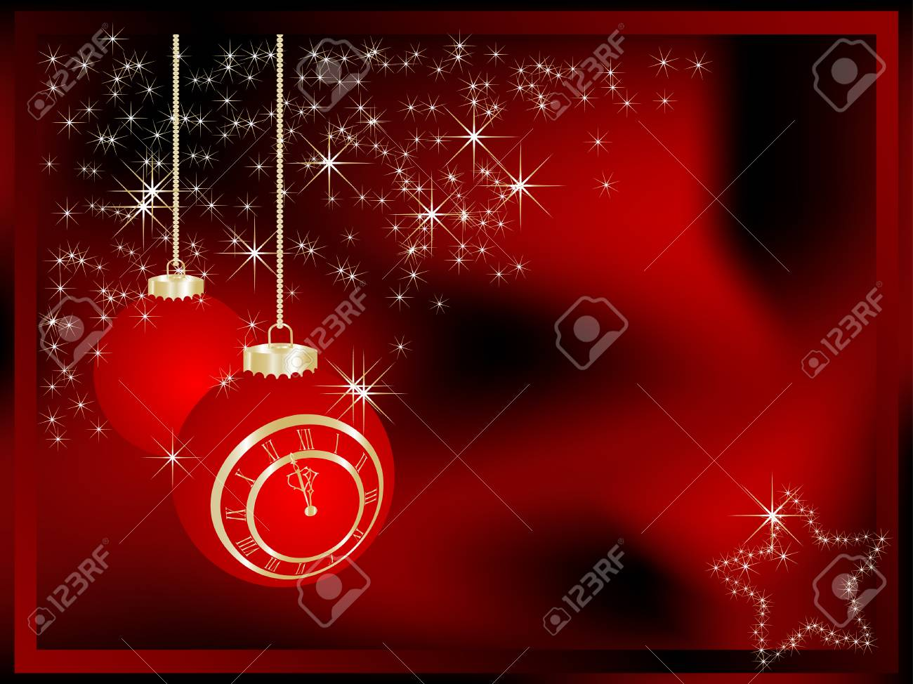 Christmas balls with New Year clock - vector illustration Stock Vector - 6074989