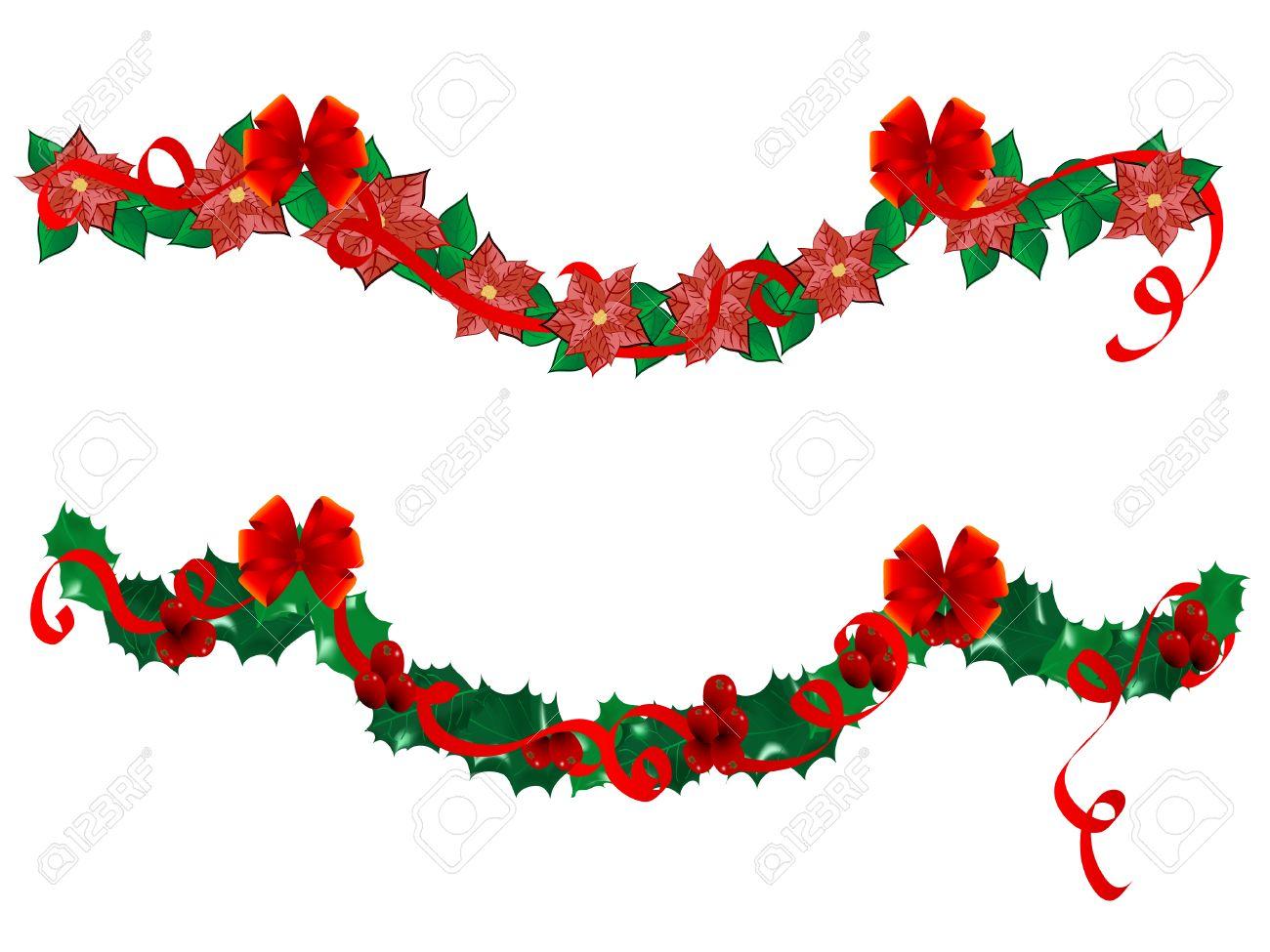 guirnaldas de flores de navidad ilustracin vectorial foto de archivo 6081205