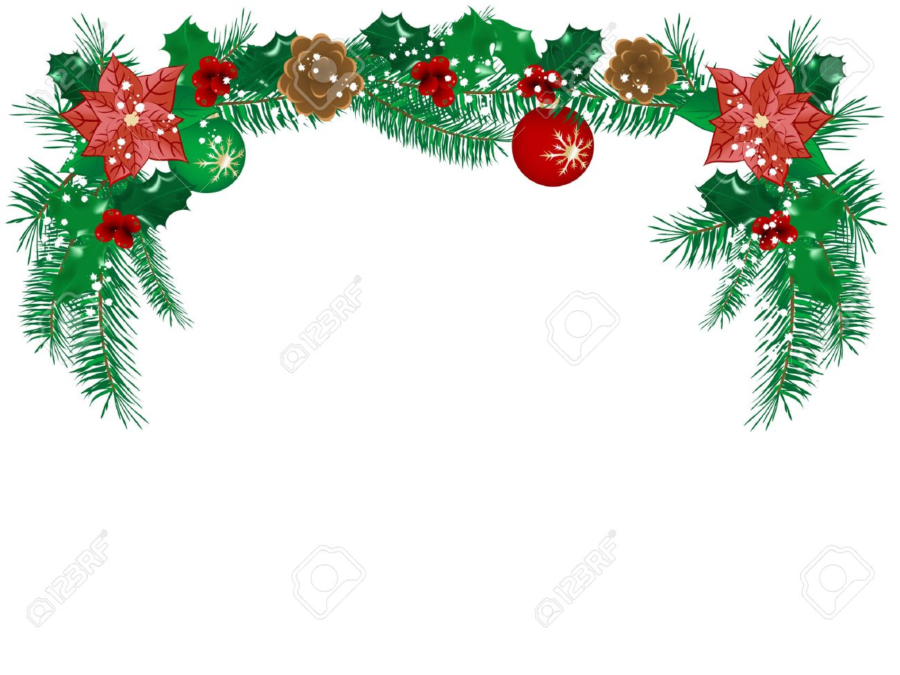 Christmas Flower Garland Vector Illustration Royalty Free Cliparts