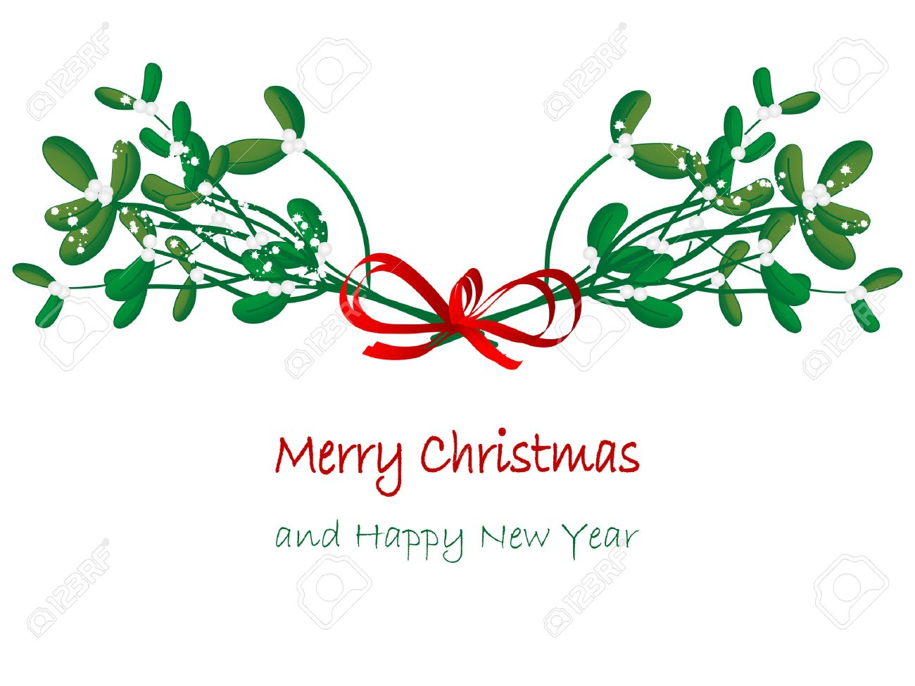 Christmas Green Mistletoe - Vector Illustration Royalty Free ...