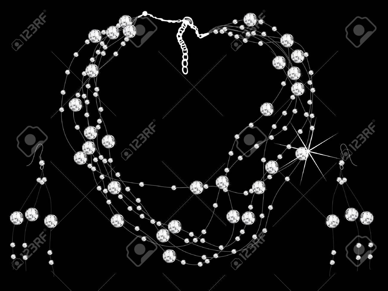 Diamond necklace and earrings - vector illustration Stock Vector - 6536651