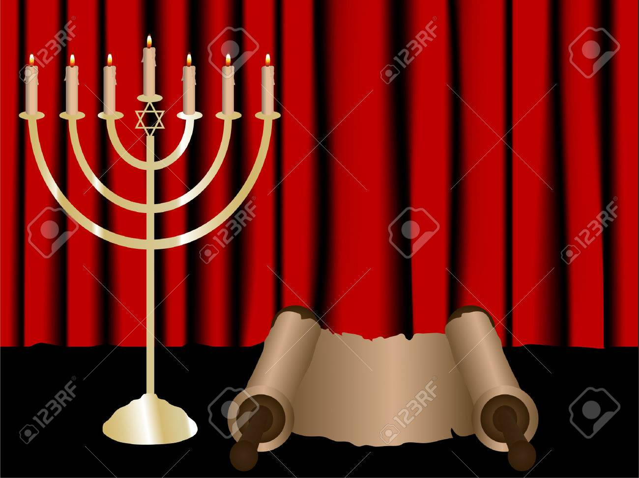 Menorah and Torah scroll on red satin background Stock Vector - 6767610