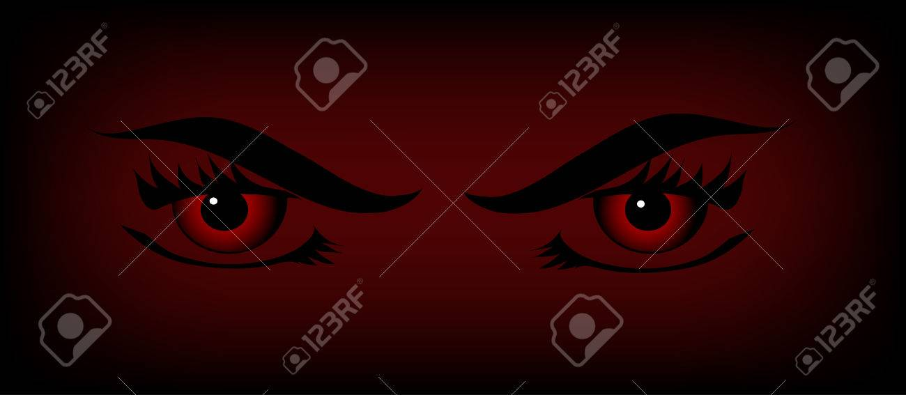 Red vampire eyes on the black and red background Stock Vector - 7312639
