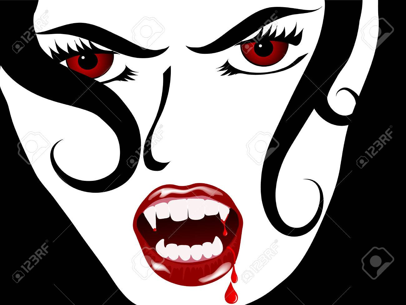 Face of the sexy vampire lady Stock Vector - 7327032