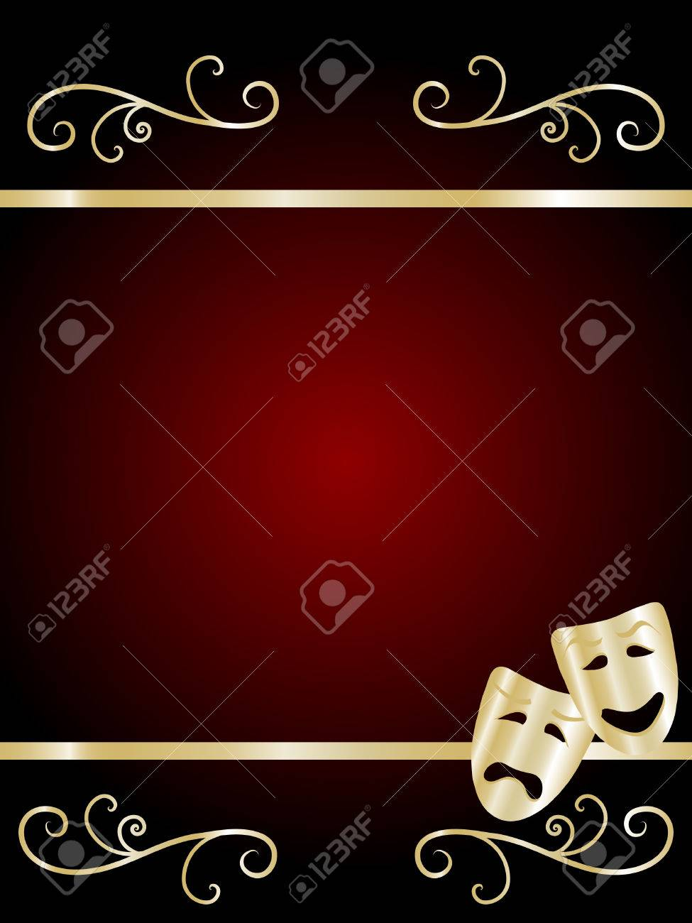 Comedy and tragedy theater masks - illustration - 7535372