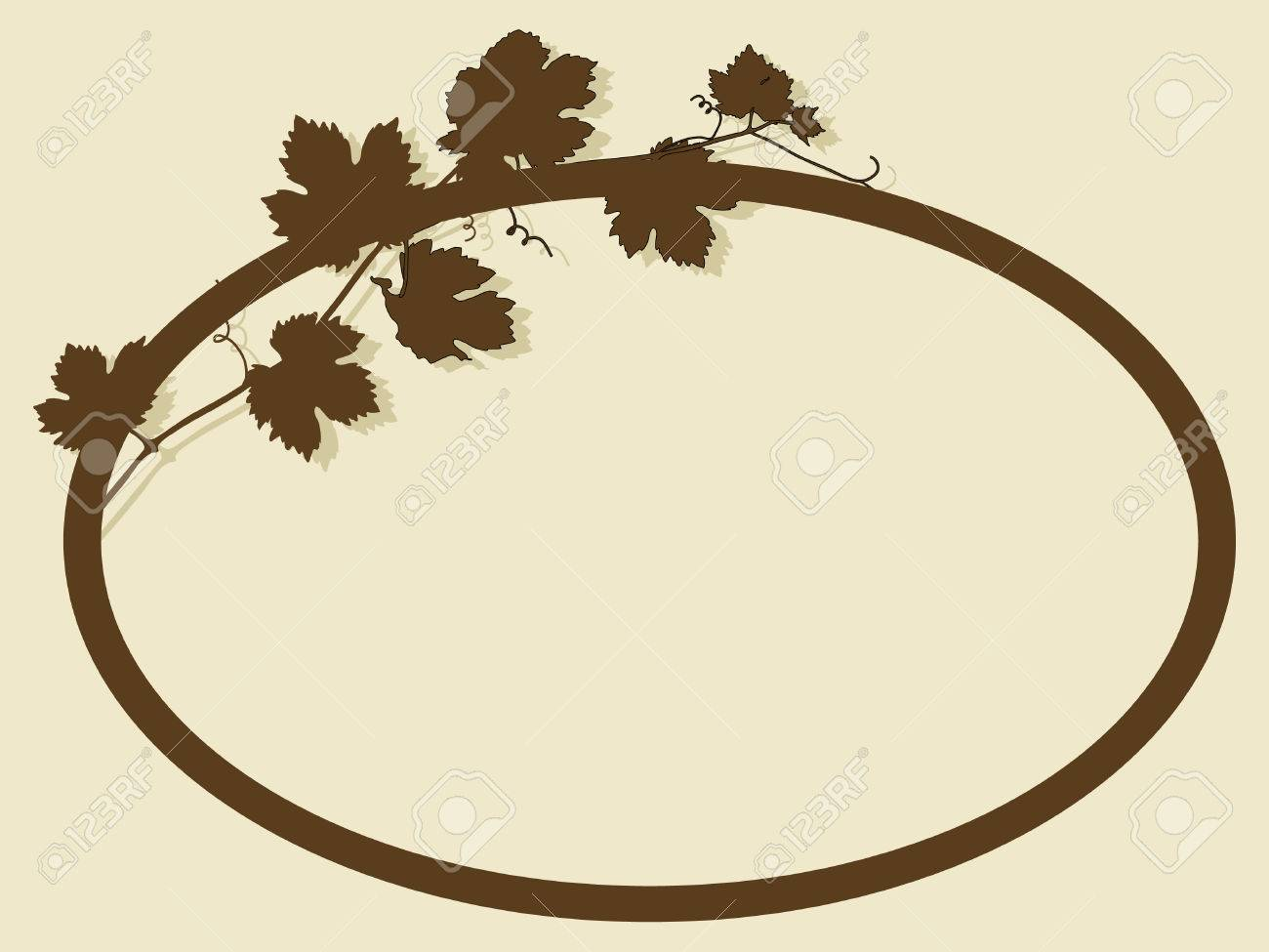 Oval frame with vine leaves Stock Vector - 7698274