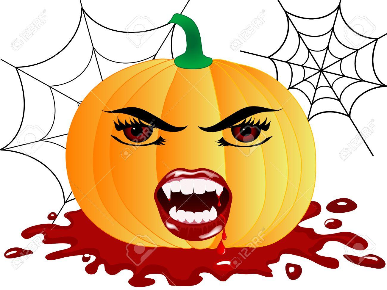Halloween Pumpkin With Vampire Face