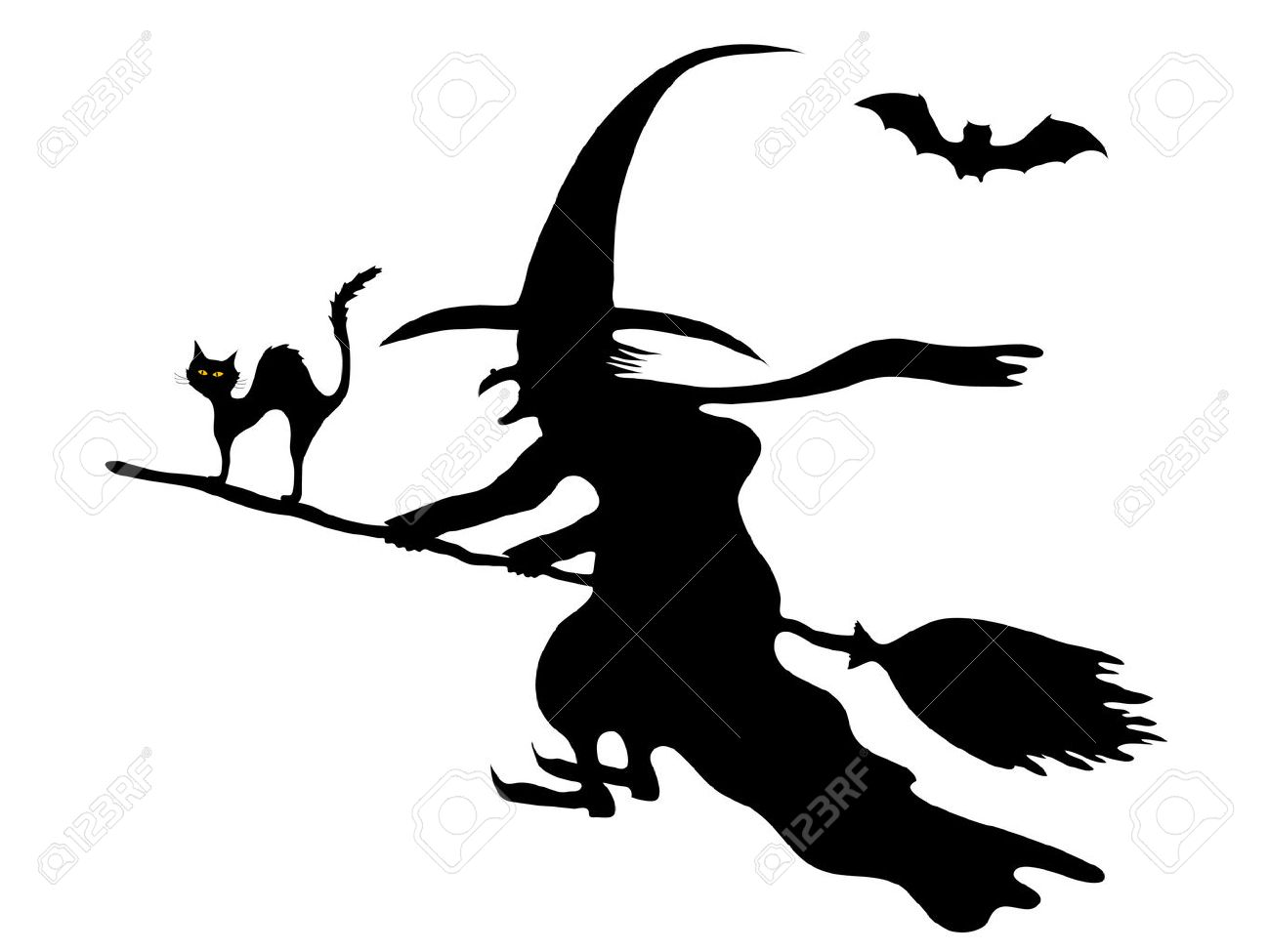 Silhouette of the witch on her broom - 7801028