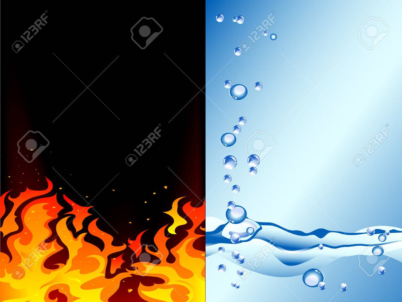 Fire and water - abstract vector illustration Stock Vector - 7950538