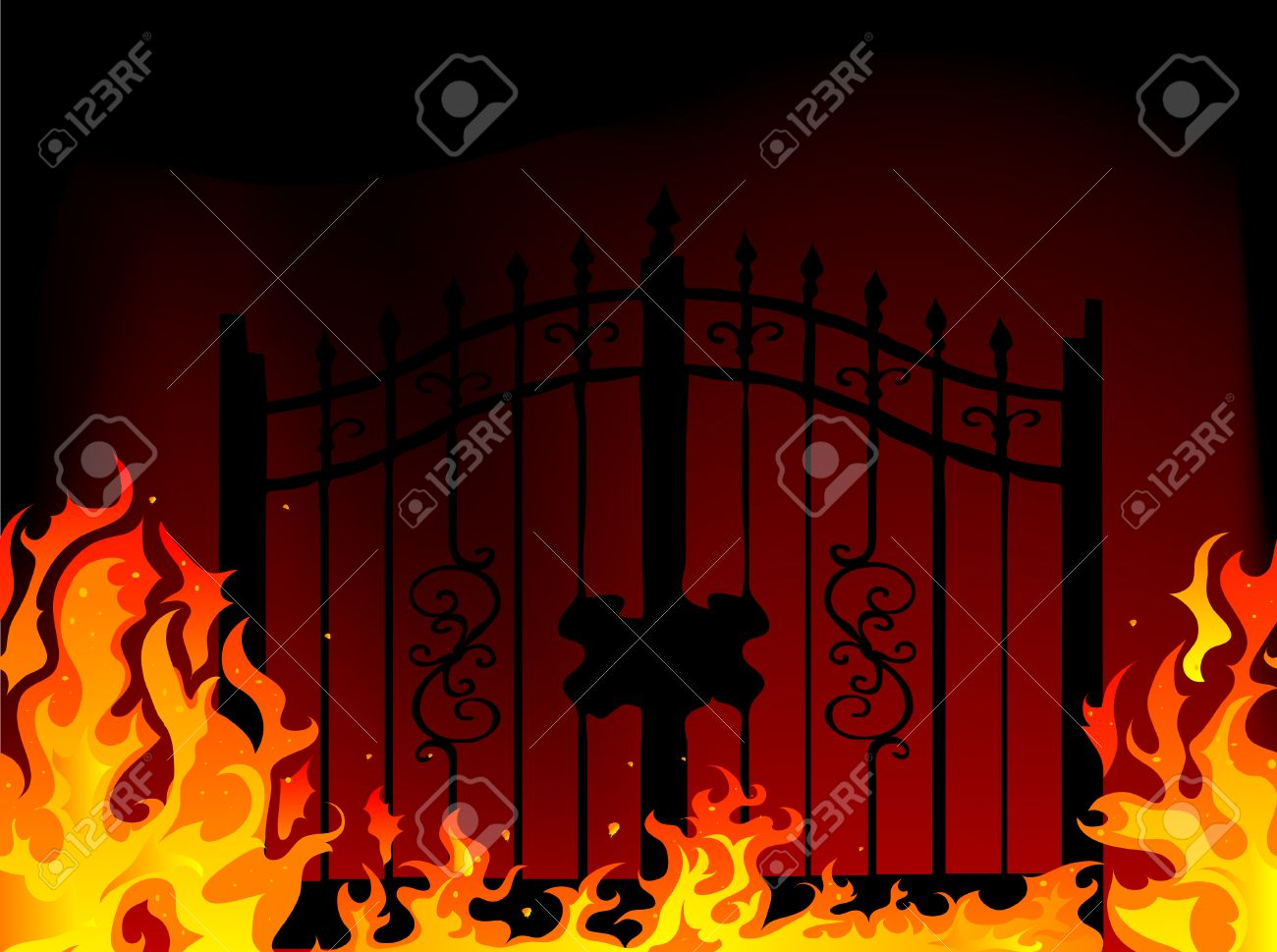Gate to hell - abstract illustration Stock Vector - 8014033