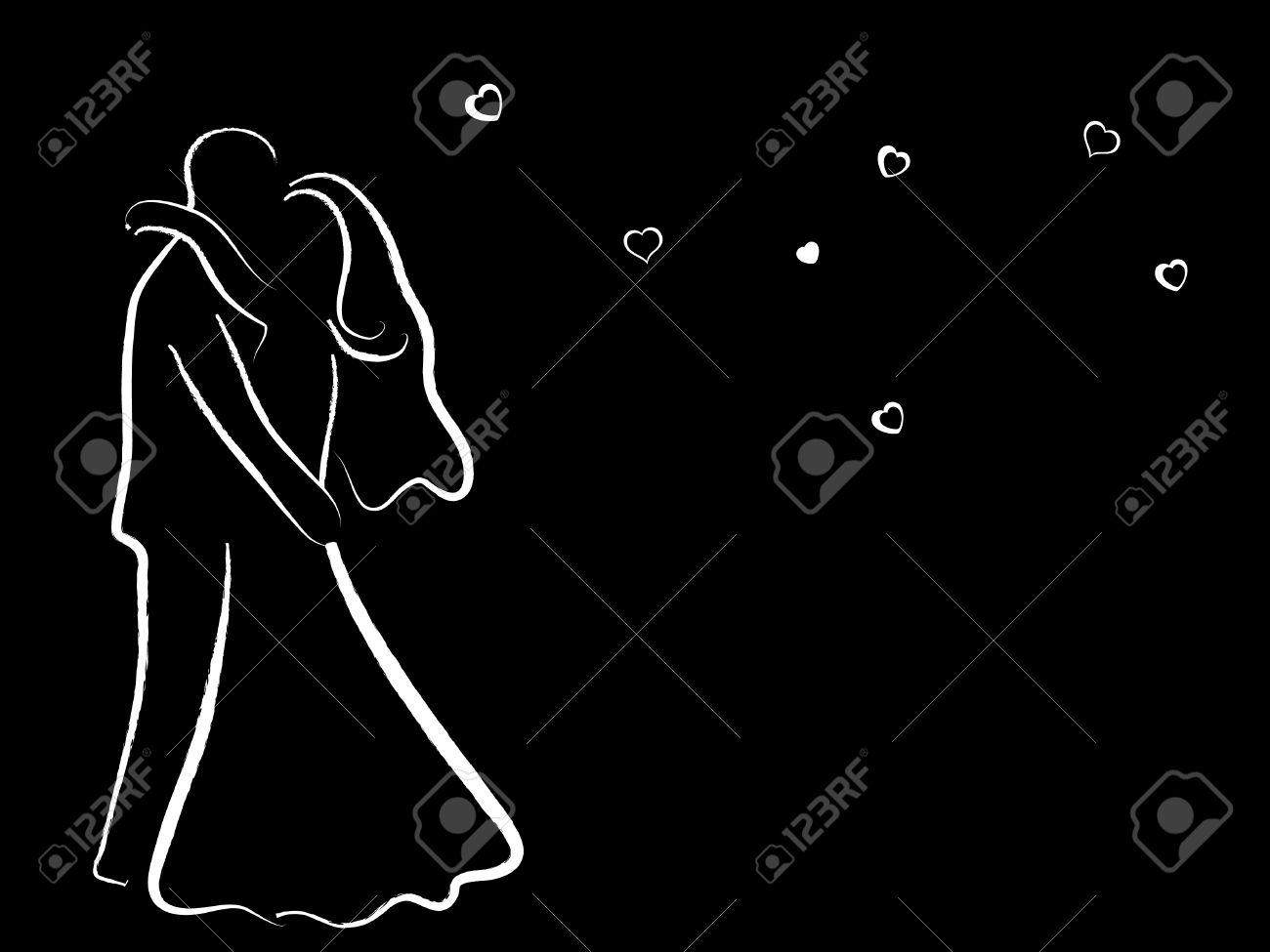 White wedding couple on black background - 8014038
