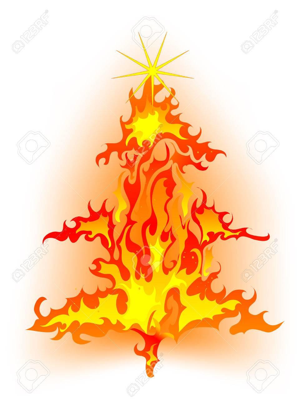 Burning Christmas Tree.Burning Christmas Tree Abstract Vector Illustration