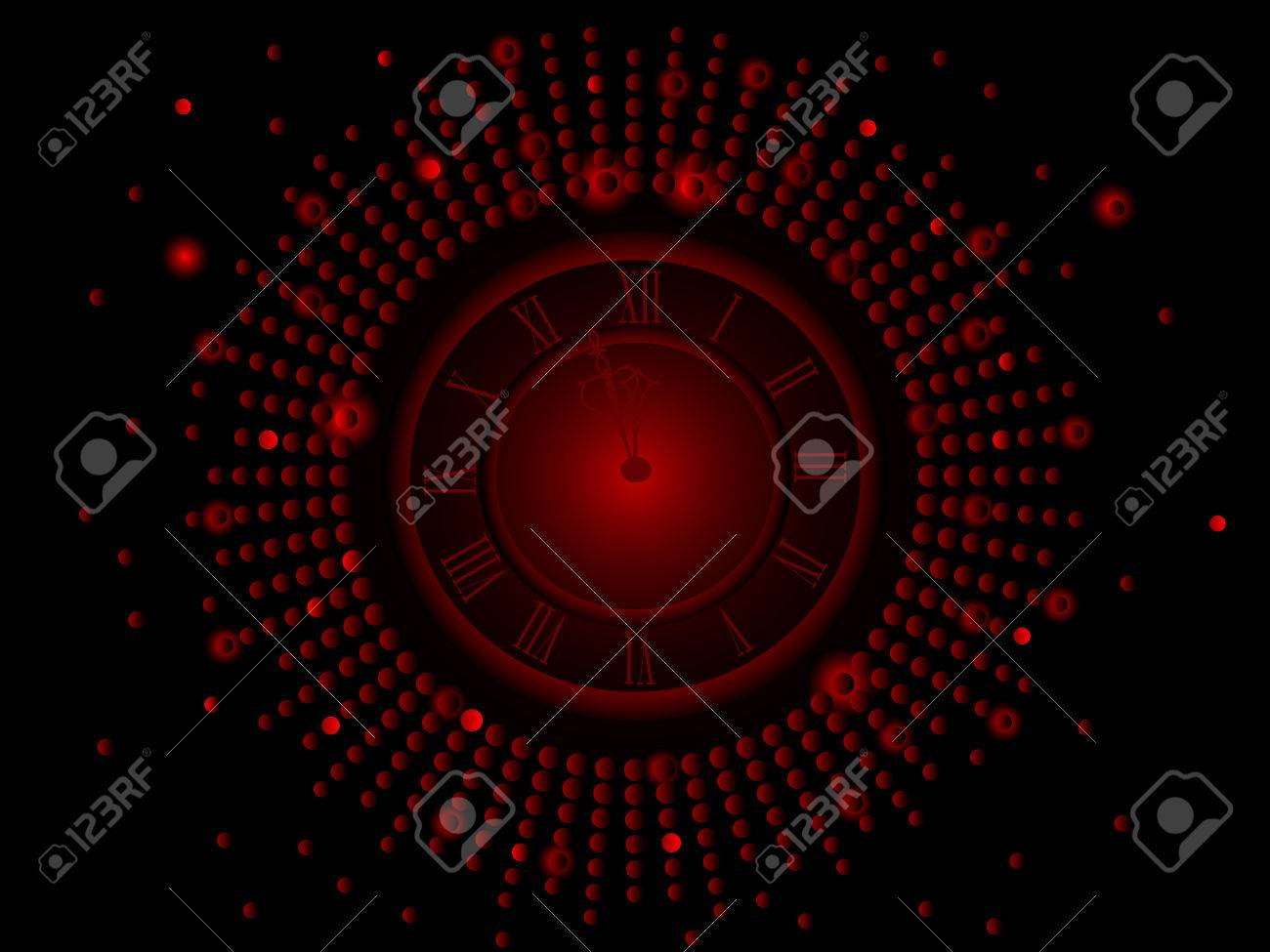 Black and red  New Year clock -  illustration Stock Vector - 8148443