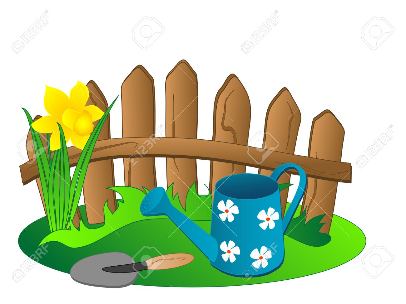 Background with fence and watering can Stock Vector - 9104099
