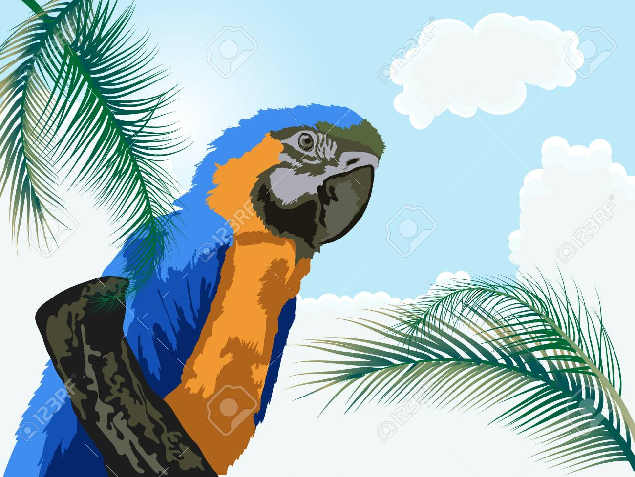 Big parrot sitting on a branch Stock Vector - 9493608