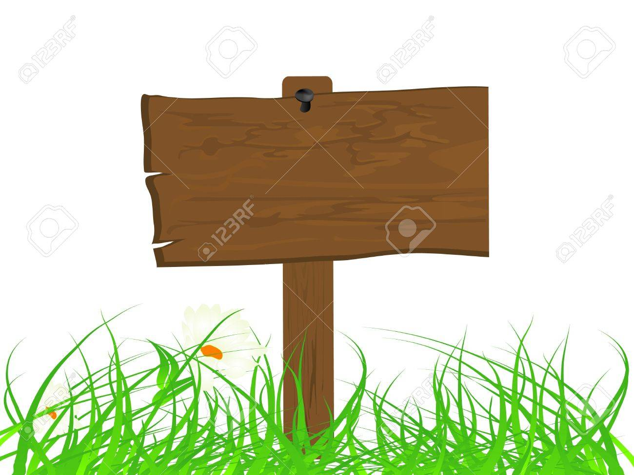 Wooden signboard in the grass Stock Vector - 9843013