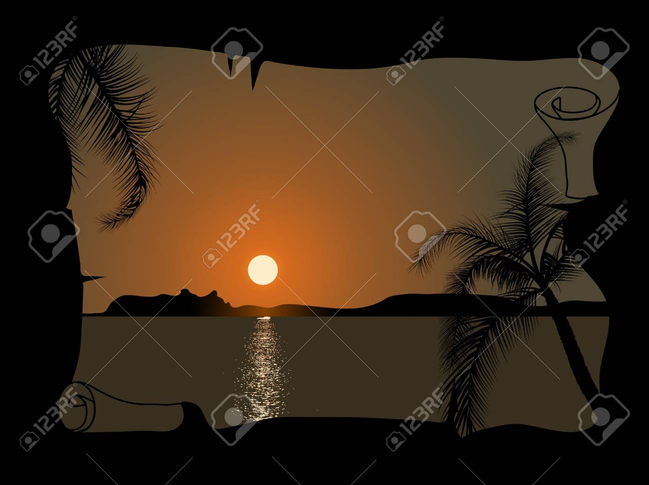 Sunset by the sea in the parchment Stock Vector - 9842469