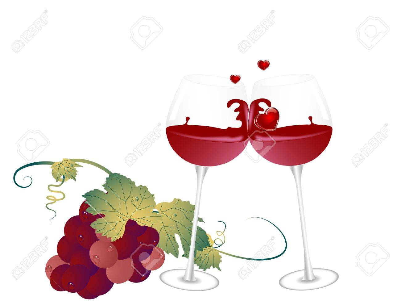 Bunch of grapes and two glasses Stock Vector - 10240297