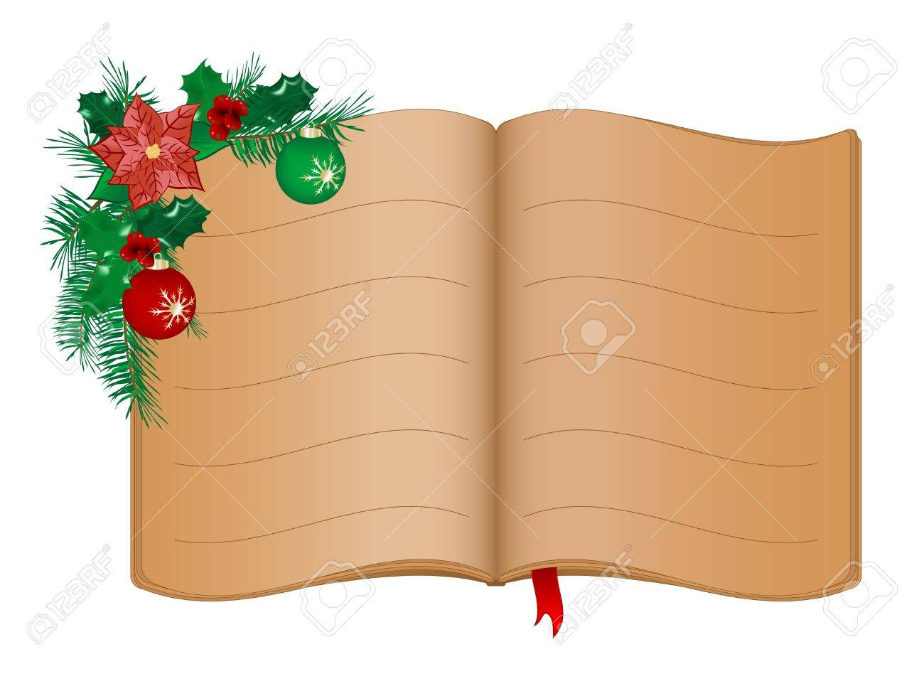 Open old book and Christmas garland Stock Vector - 11067280